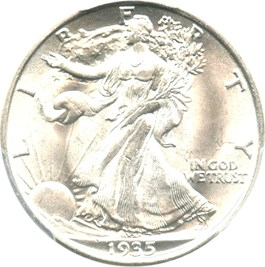 Image of 1935 50c PCGS MS64