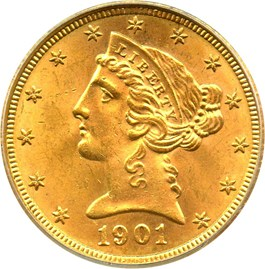 Image of 1901-S $5 PCGS/CAC MS64