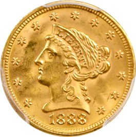 Image of 1888 $2 1/2 PCGS/CAC MS63
