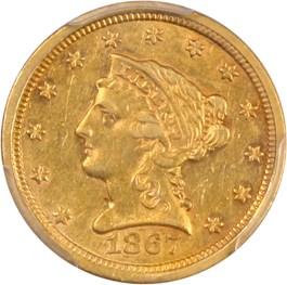 Image of 1867-S $2 1/2 PCGS AU55