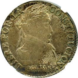 "Image of Bolivia: 1830-PTS JL 4 Soles NGC XF45 (""PTS"" Low on Island"", KM#96a.2) .2895 oz Silver"