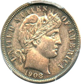 Image of 1908-D 10c PCGS/CAC MS63