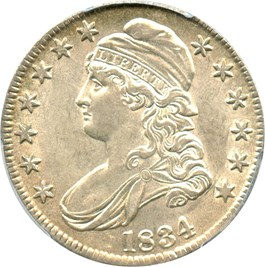 Image of 1834 50c PCGS/CAC AU55 (Large Date, Small Letters)