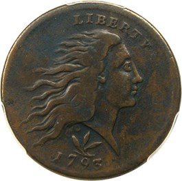 Image of 1793 Wreath 1c PCGS VF25 BN (Vine/Bars)