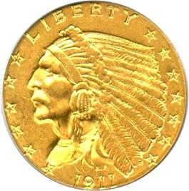 Image of 1911 $2 1/2 PCGS AU58