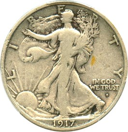 Image of 1917-S (Obv) 50c PCGS F12 (Mintmark Obverse)