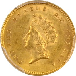 Image of 1854 G$1 PCGS/CAC MS62 (Type 2)