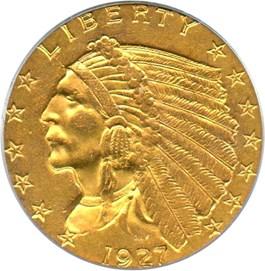Image of 1927 $2 1/2 PCGS AU58