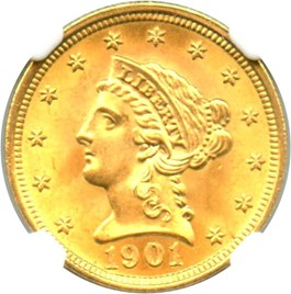 Image of 1901 $2 1/2 NGC/CAC MS66