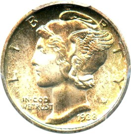Image of 1938-D 10c PCGS MS67