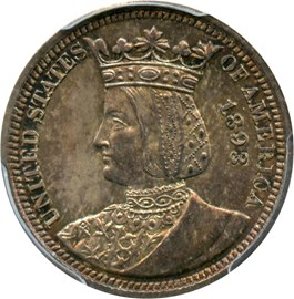 Image of 1893 Isabella 25c PCGS MS65