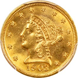 Image of 1903 $2 1/2 PCGS/CAC MS63