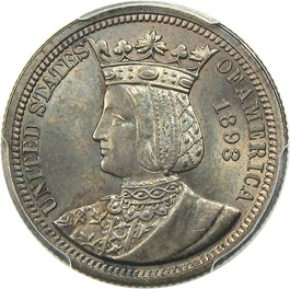 Image of 1893 Isabella 25c PCGS MS66