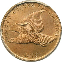Image of 1858 Flying Eagle 1c PCGS/CAC MS65 (Small Letters)