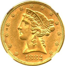 Image of 1882 $5 NGC MS62