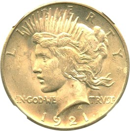 Image of 1921 Peace $1 NGC MS65