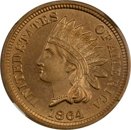 Image of 1864 1c NGC/CAC MS65 (Copper Nickel)