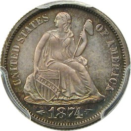 Image of 1874 10c PCGS Proof 65 (Arrows)