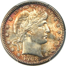 Image of 1908-S 25c PCGS/CAC MS65