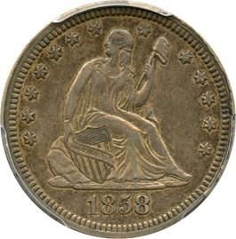 Image of 1858 25c PCGS XF45