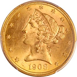 Image of 1908 Liberty $5 PCGS MS63 - No Reserve!