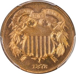 Image of 1872 2c PCGS Proof 65 RD