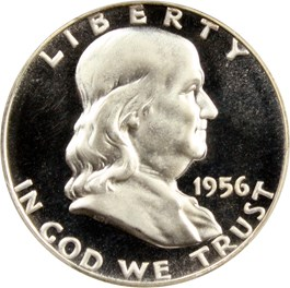 Image of 1956 50c PCGS Proof 67 DCAM (Type 2)