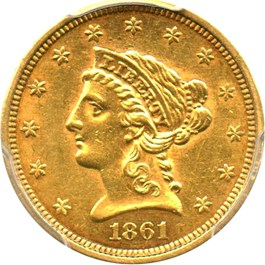 Image of 1861 $2 1/2 PCGS AU55 (New Reverse)