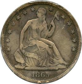 Image of 1865-S 50c PCGS F15