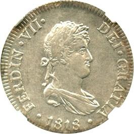 Image of Peru: 1818-Lima JP 2 Reales NGC AU53 (KM#115.1) .1949 oz Silver