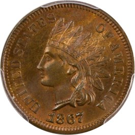 Image of 1867 1c PCGS/CAC MS65 RB