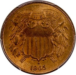Image of 1865 2c PCGS/CAC MS65 RD