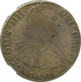Image of Bolivia: 1808-PTS PJ 8 Reales NGC VF25 (Carolus IIII, KM#73) .7797 oz Silver