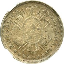 Image of Bolivia: 1896-PTS ES 50c NGC AU58 (KM#161.5) .3327 oz Silver