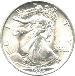Image of 1935 50c PCGS/CAC MS66