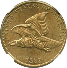 Image of 1858 Flying Eagle 1c NGC/CAC MS64 (Large Letters)