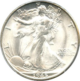 Image of 1945-S 50c PCGS/CAC MS66
