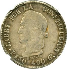 "Image of Bolivia: 1859-PTS FJ 8 Soles NGC XF40 (""PESO 400 Gs"", KM#138.3) .5806 oz Silver"