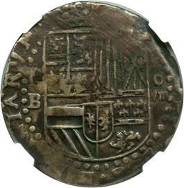 Image of Bolivia: (1574-86)-P B 8 Reales NGC Genuine VF Details (Environmental Damage, KM#5.1) .8102 oz Silver