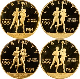 Image of 1984 Olympic $10 Proof Set: All NGC Proof 69 UCAM (4 Coins)