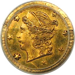 Image of 1866 Cal. Gold 25c PCGS MS62 (BG-804)