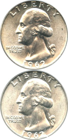 Image of Collector Lot of 1962 + 1962-D Washington Quarters: Both PCGS MS64/65 (2 Coins Total) - No Reserve!