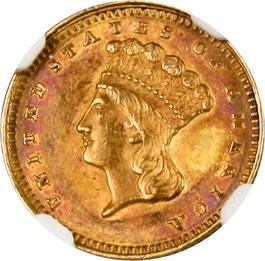 Image of 1862 G$1 NGC/CAC AU58
