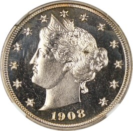 Image of 1908 5c NGC Proof 66 CAM