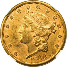 Image of 1868-S $20 NGC/CAC MS60