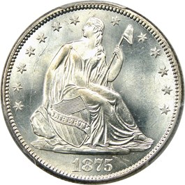 Image of 1875-S 50c PCGS MS66