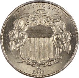 Image of 1868 5c PCGS MS66