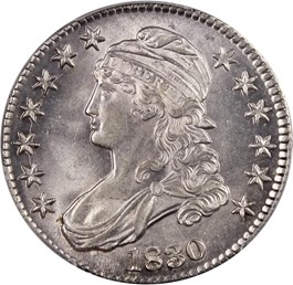 Image of 1830 50c PCGS MS63 (Small 0)