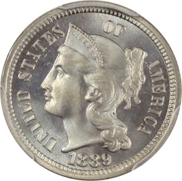 Image of 1889 3cN PCGS/CAC Proof 67
