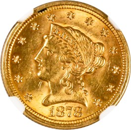 Image of 1878 $2 1/2 NGC/CAC MS62